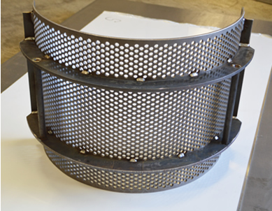 Perforated screen with fabricated backing frame